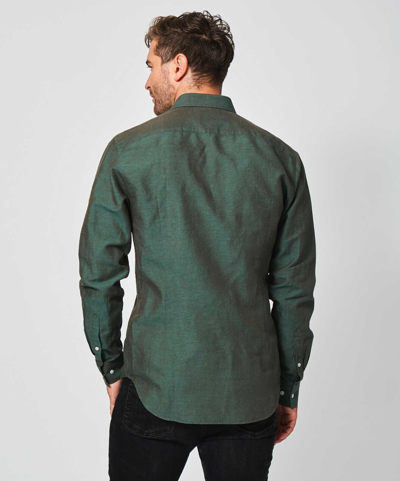 Skjorta Portofino Linne Grön  The Shirt Factory