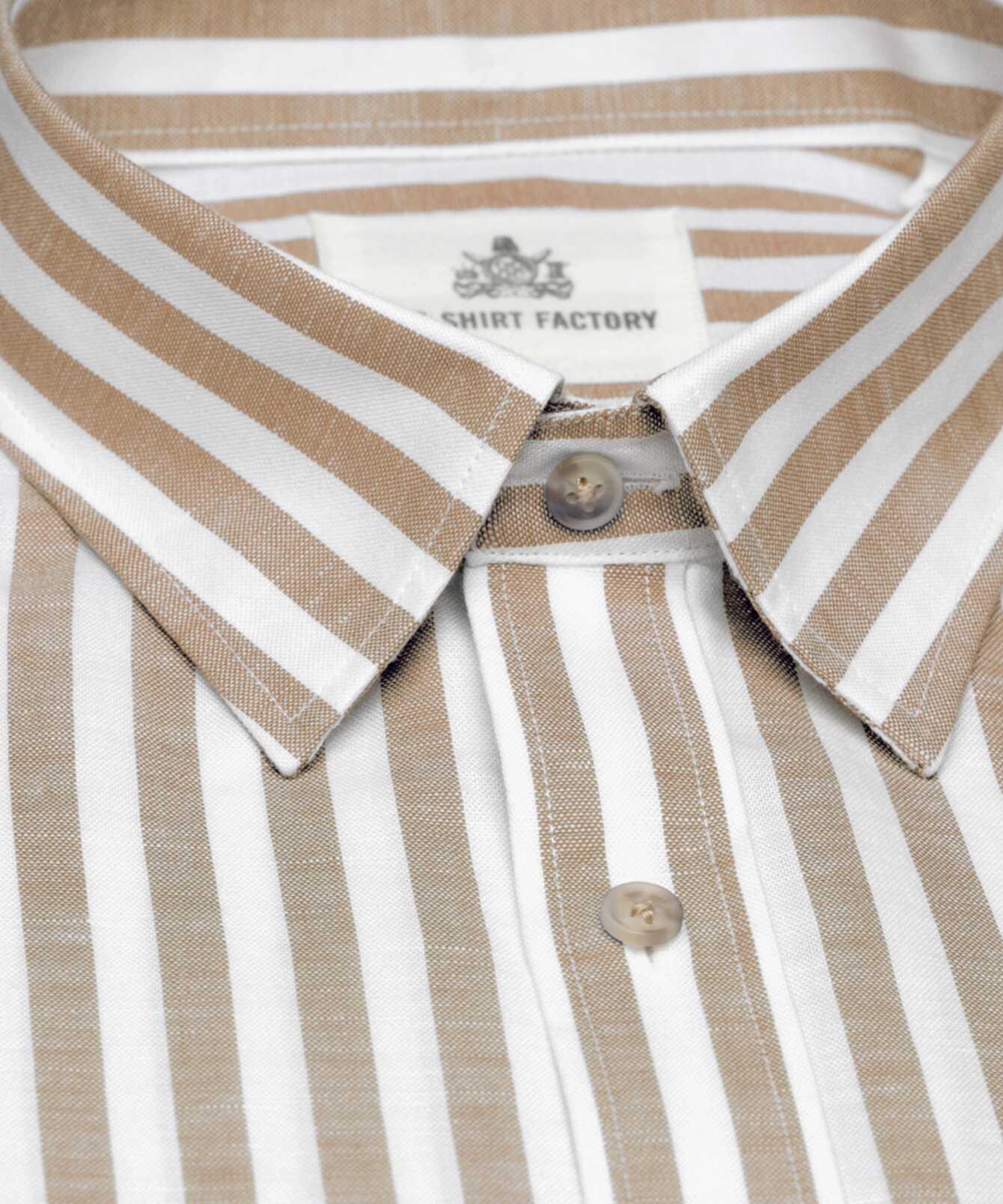 Skjorta Linen Stripe Beige The Shirt Factory
