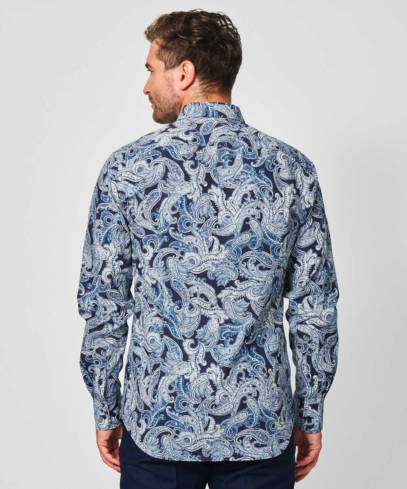 Shirt Paisley Blå The Shirt Factory