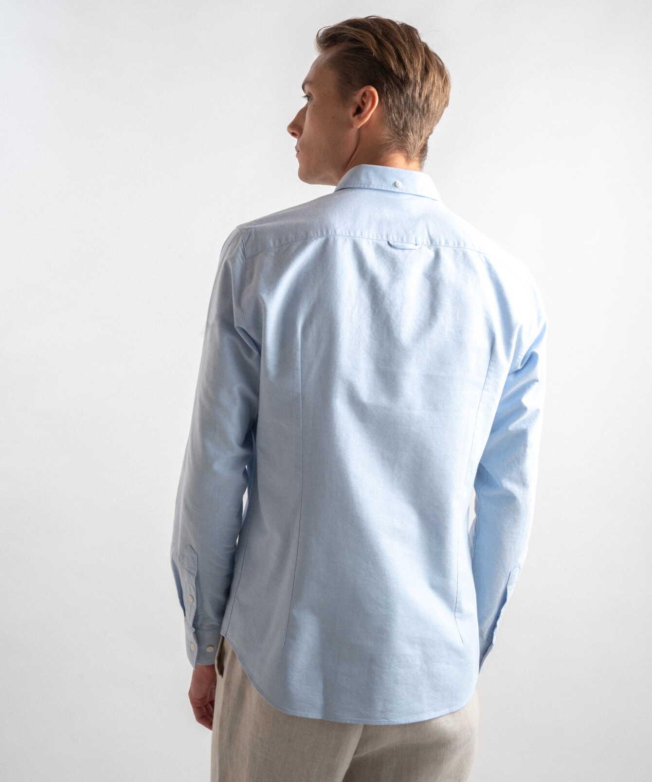 Skjorta Boston Oxford Ljusblå Extra Lång Ärm The Shirt Factory