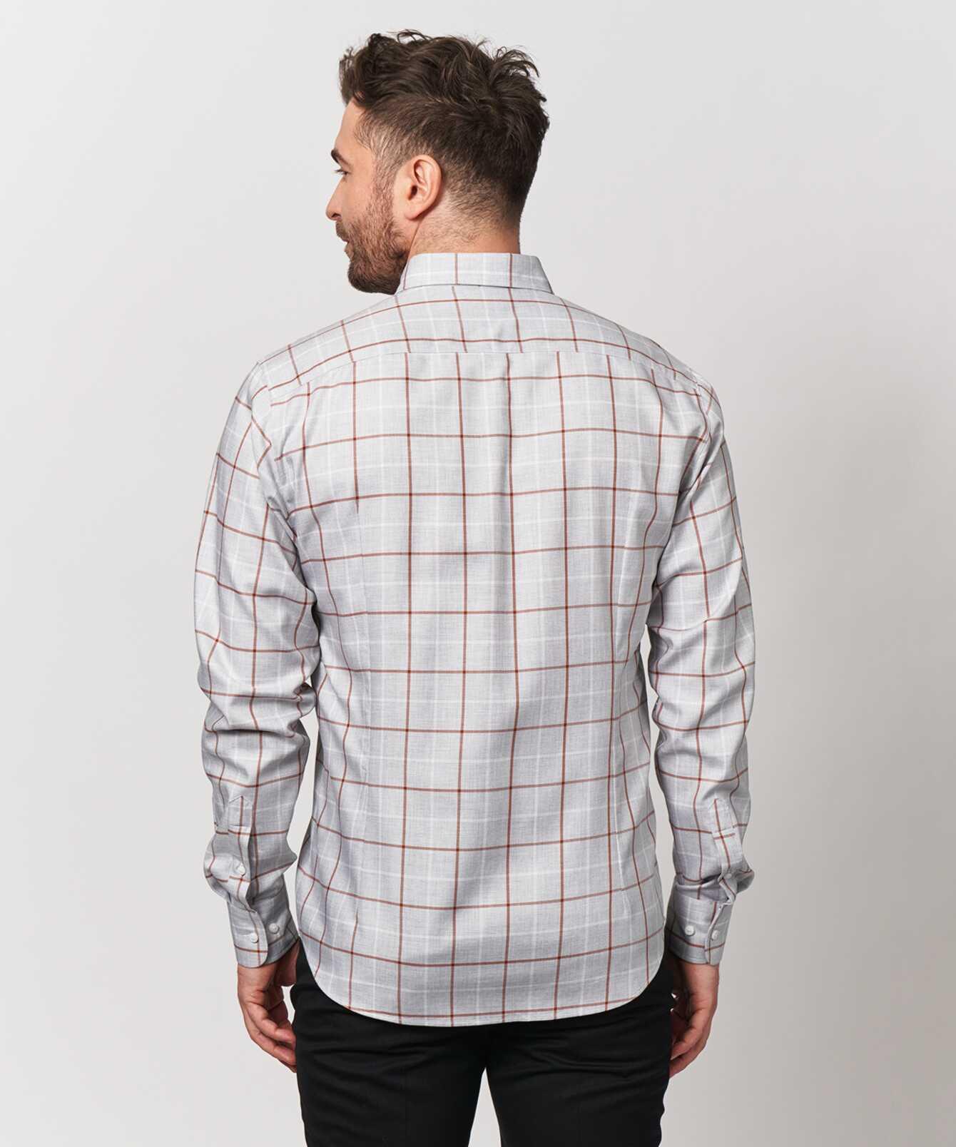 Skjorta Lincoln Brun Extra Lång Ärm The Shirt Factory