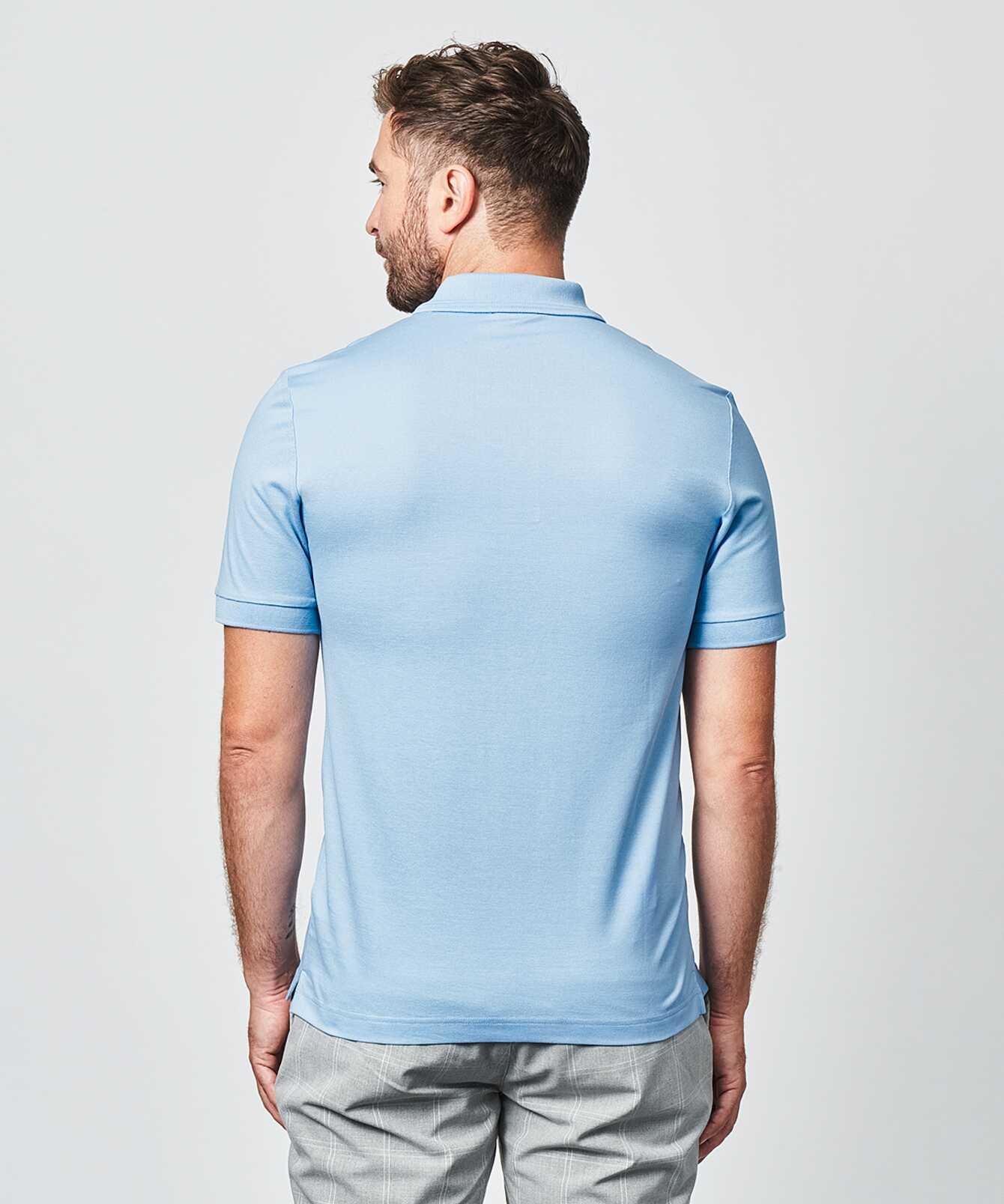 Shirt Mercerized polo shirt light blue The Shirt Factory