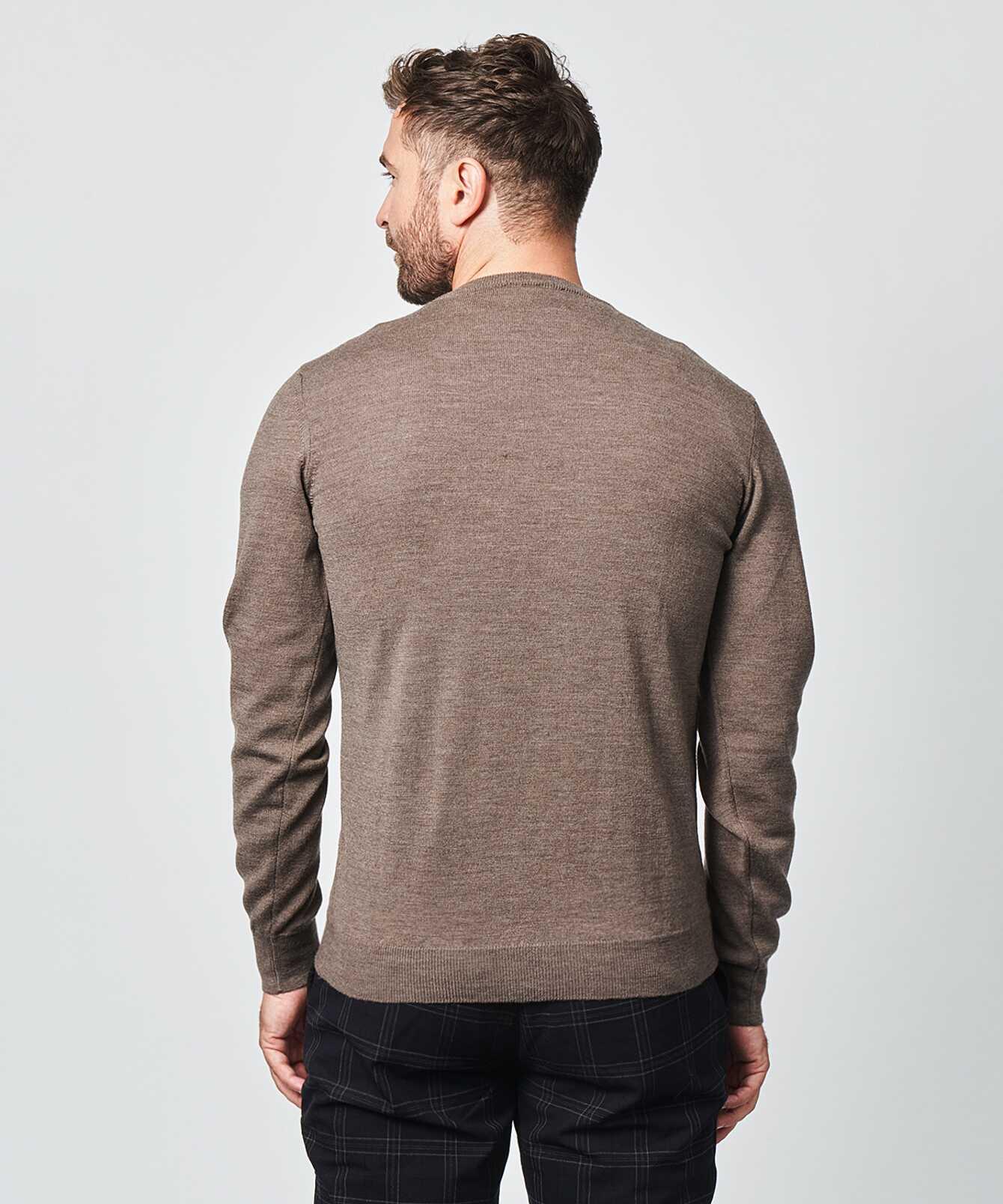 Shirt Crew neck merino brown The Shirt Factory