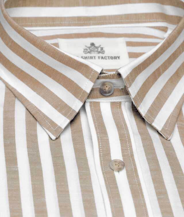 Linen Stripe Beige The Shirt Factory