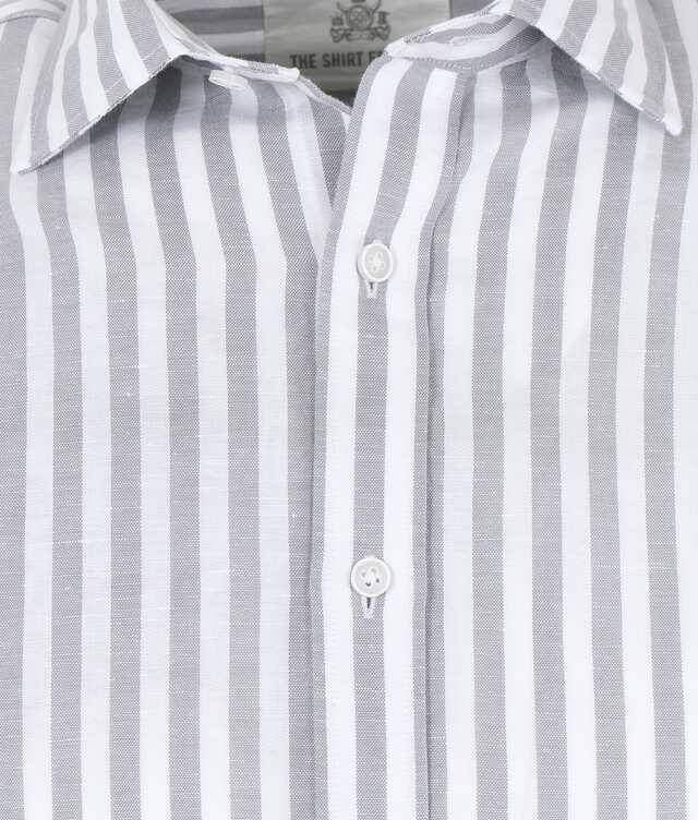Linen Stripe Grå The Shirt Factory