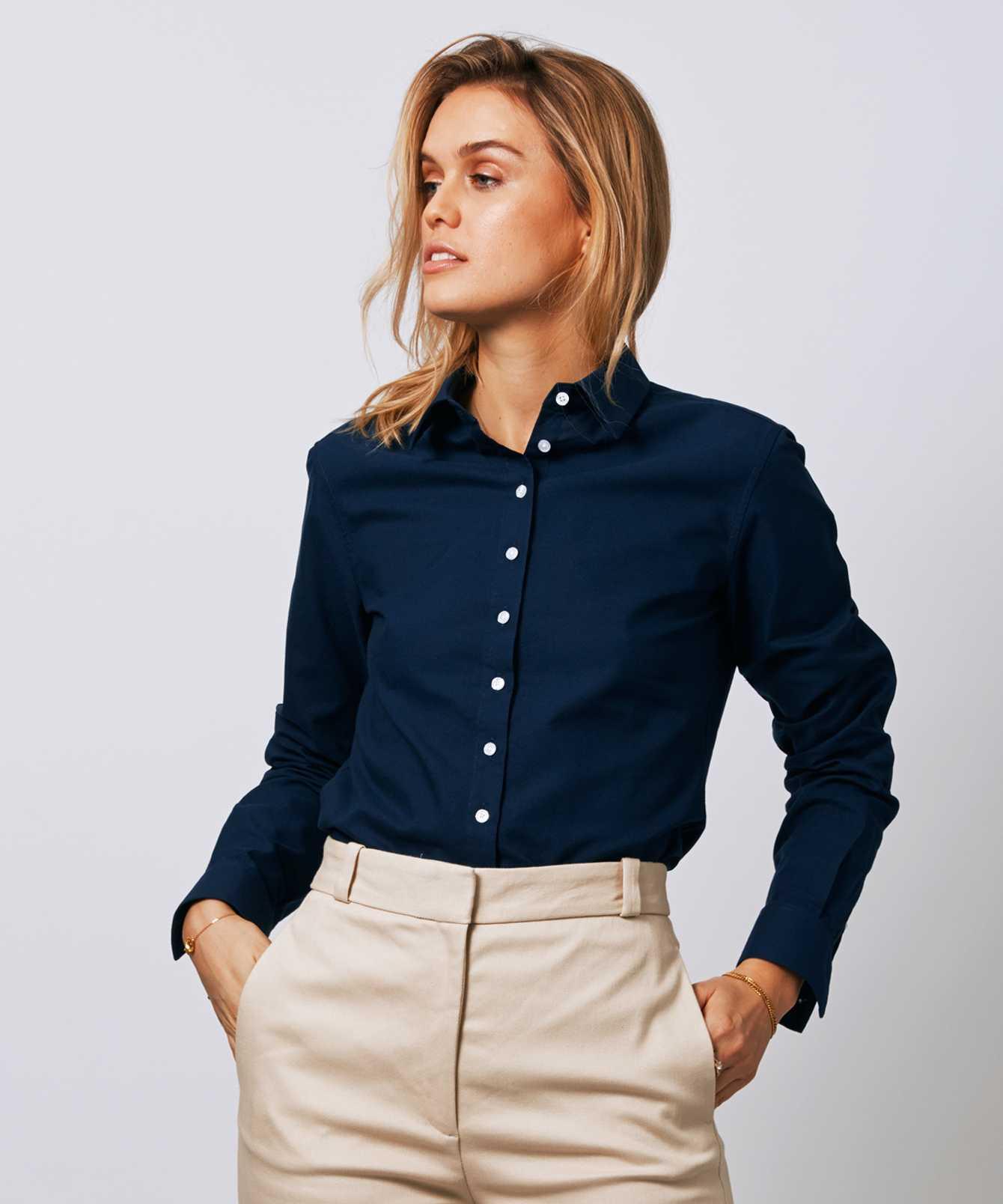 Skjorta Tilde Hampton Oxford Navy The Shirt Factory