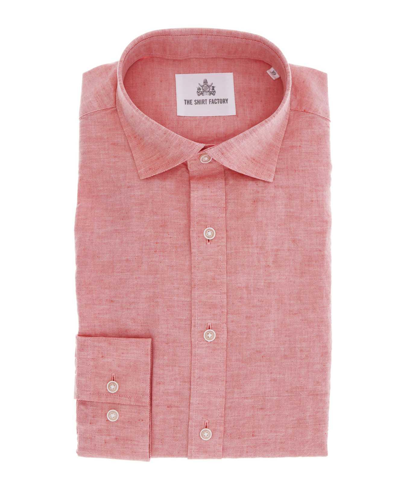 Shirt Portofino Linne Orange The Shirt Factory