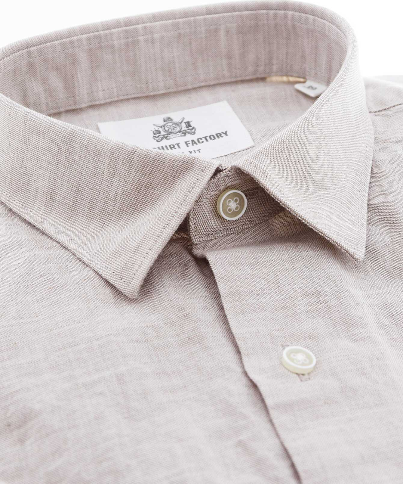 Shirt Portofino Linne Beige The Shirt Factory