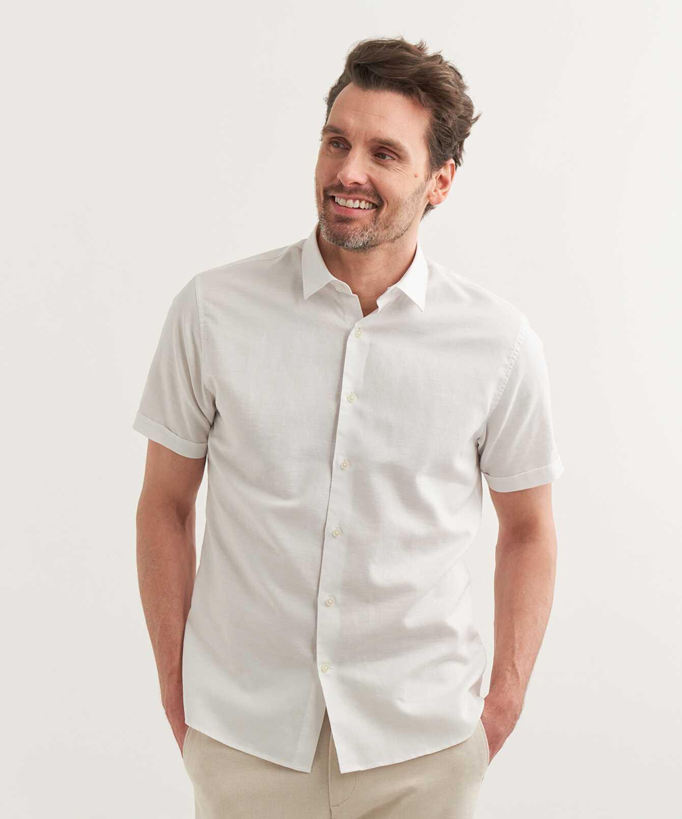 Skjorta Portofino Linne Kortärmad Vit  The Shirt Factory