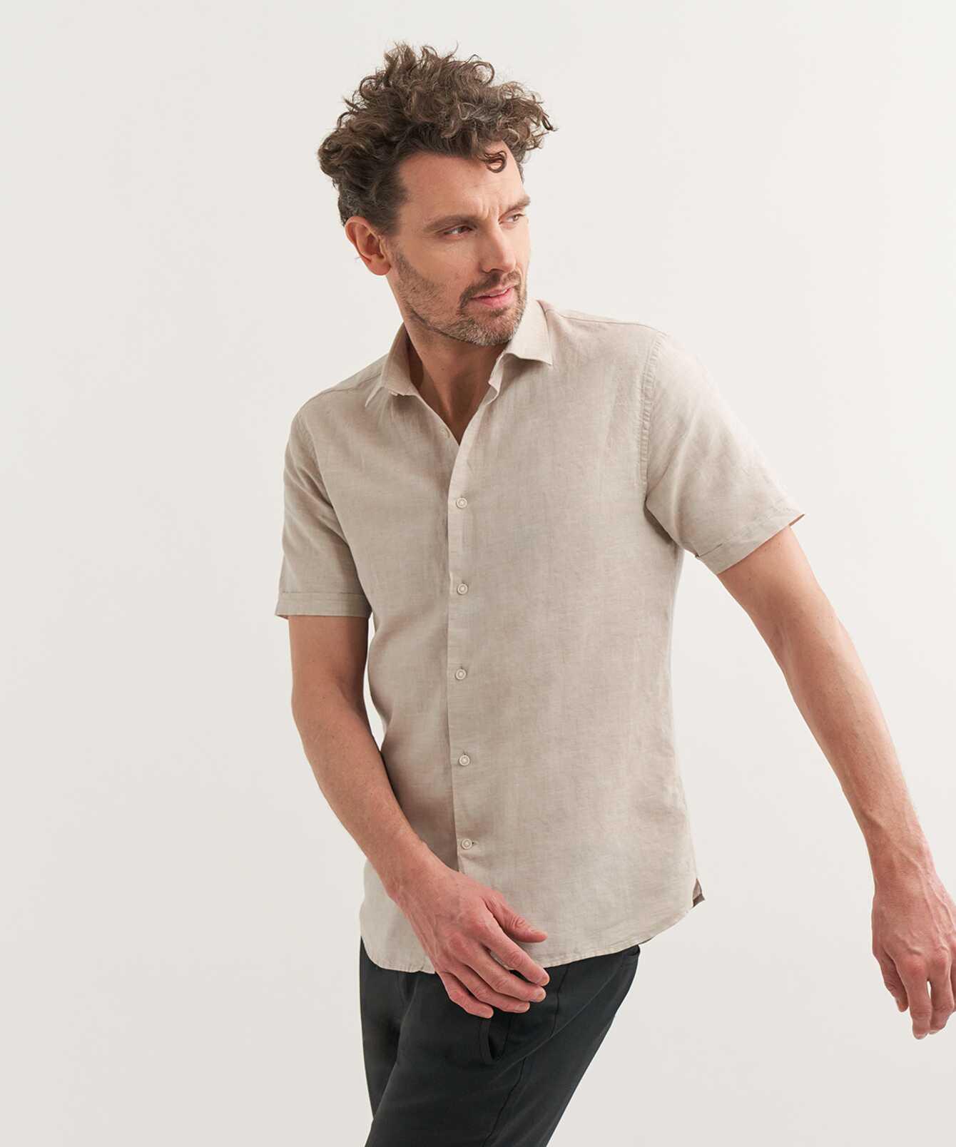 Skjorta Portofino Linne Kortärmad Beige The Shirt Factory