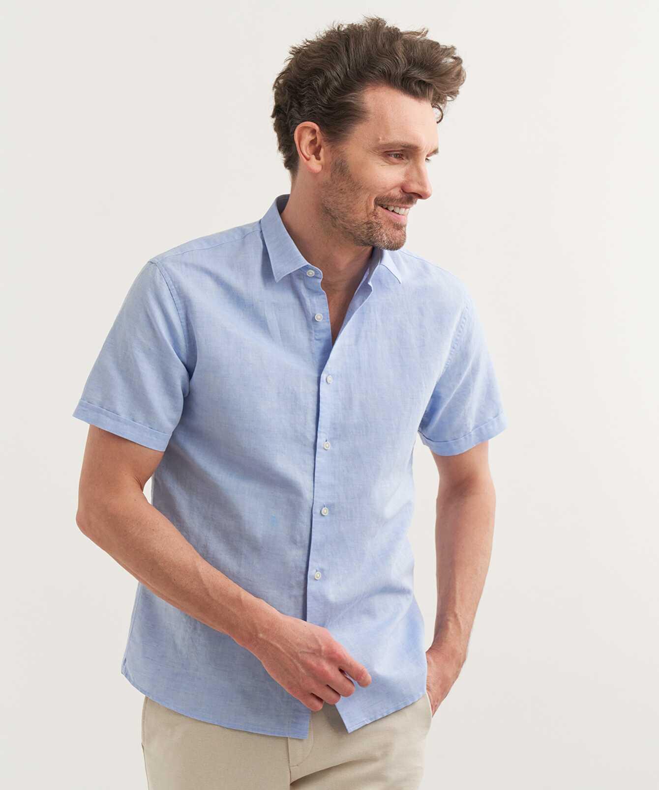 Skjorta Portofino Linne Kortärmad Ljusblå The Shirt Factory