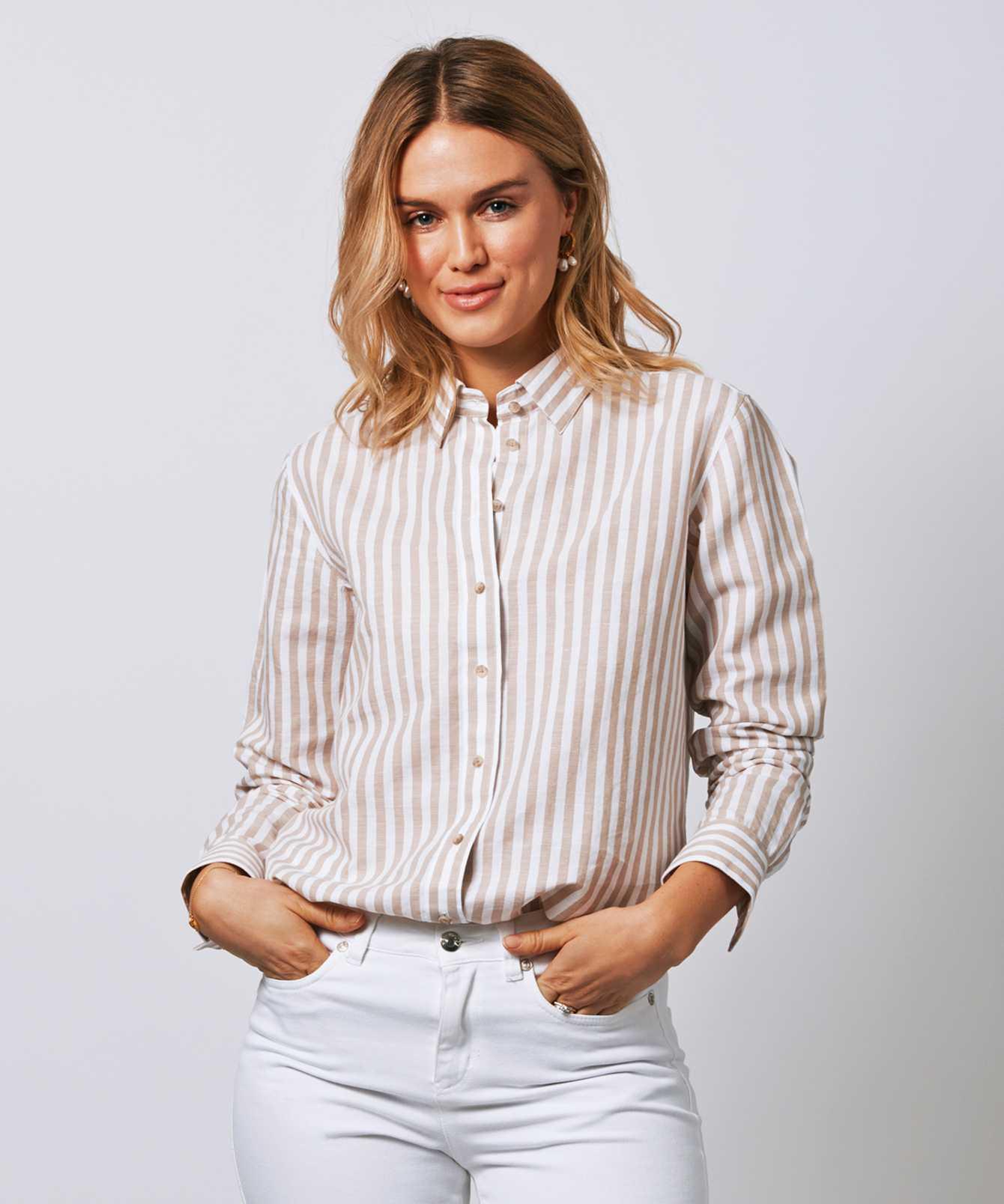 Shirt Mickan Linen Stripe The Shirt Factory