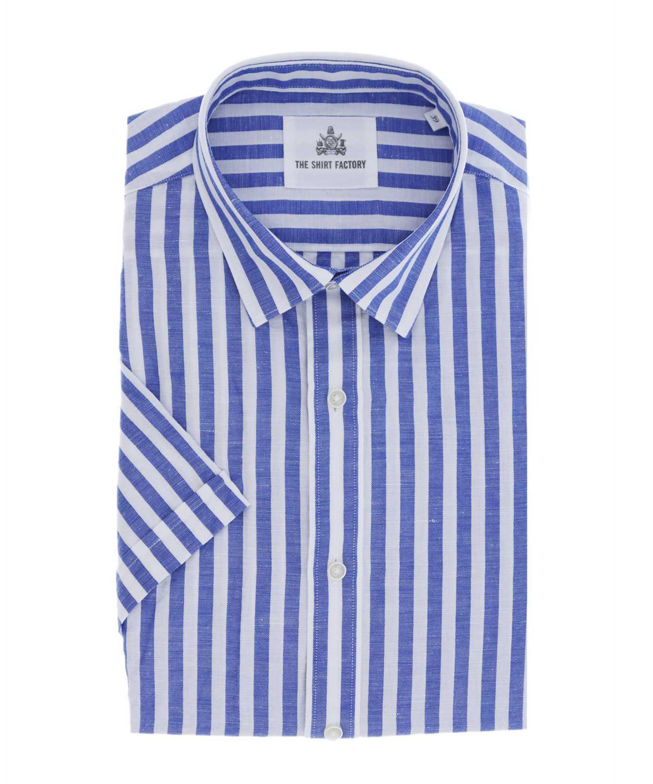 Shirt Linen Stripe Blå Kortärmad The Shirt Factory