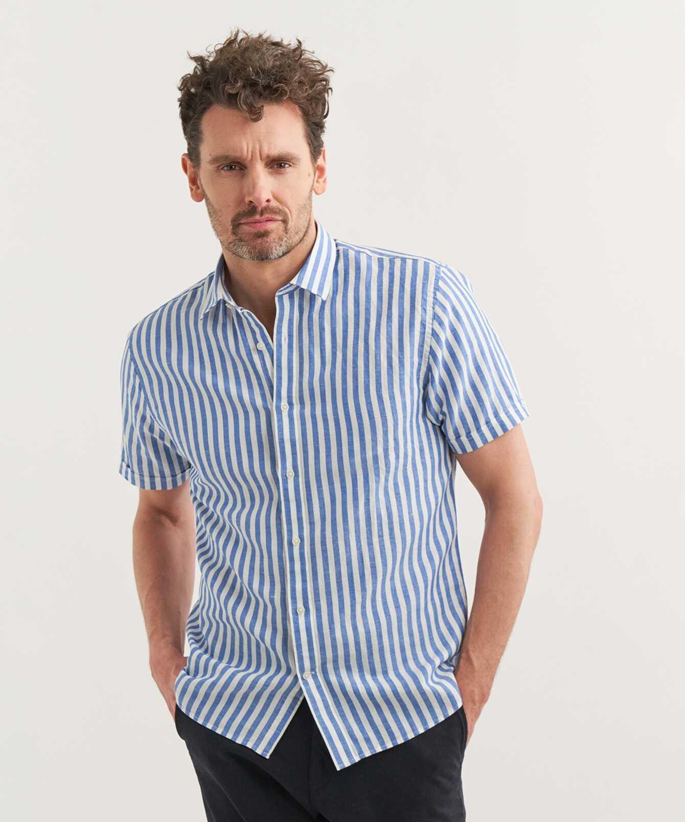 Skjorta Linen Stripe Blå Kortärmad The Shirt Factory