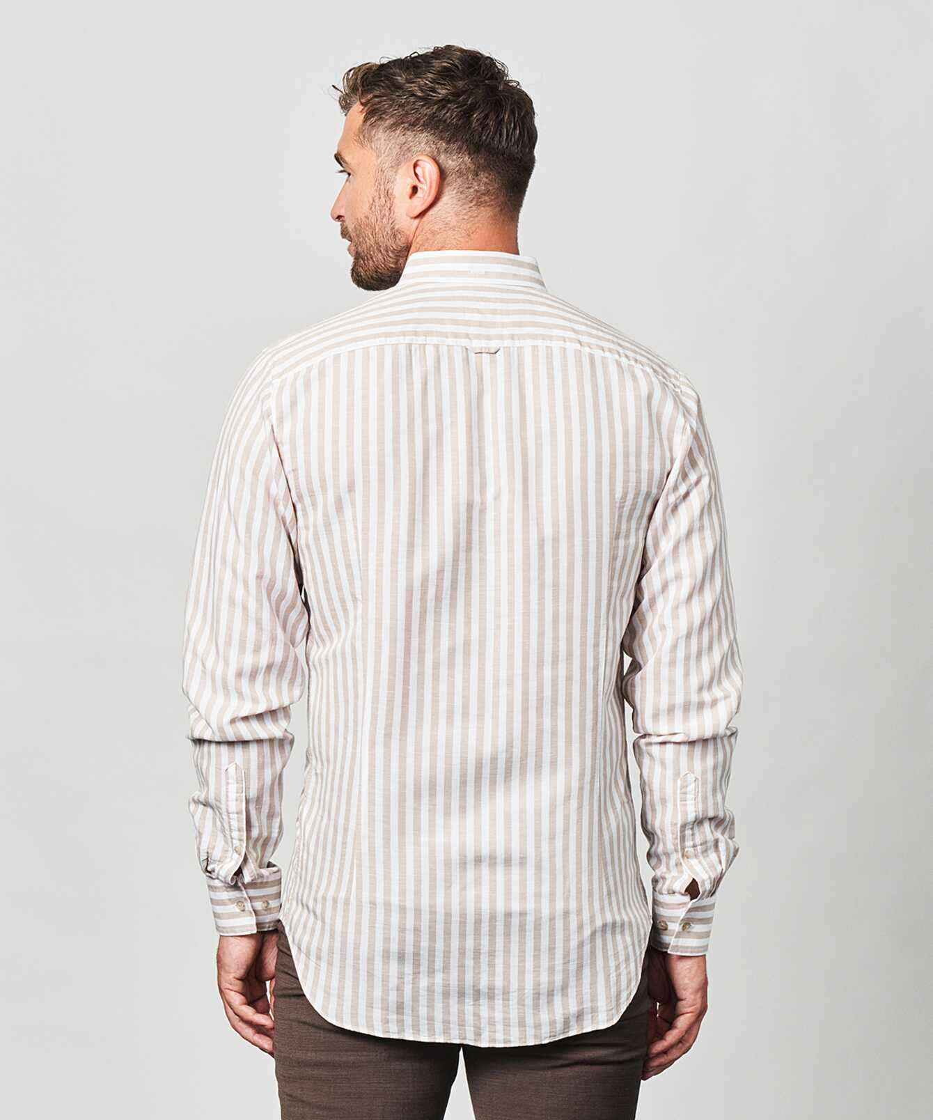 Skjorta Linen Stripe Beige The Shirt Factory