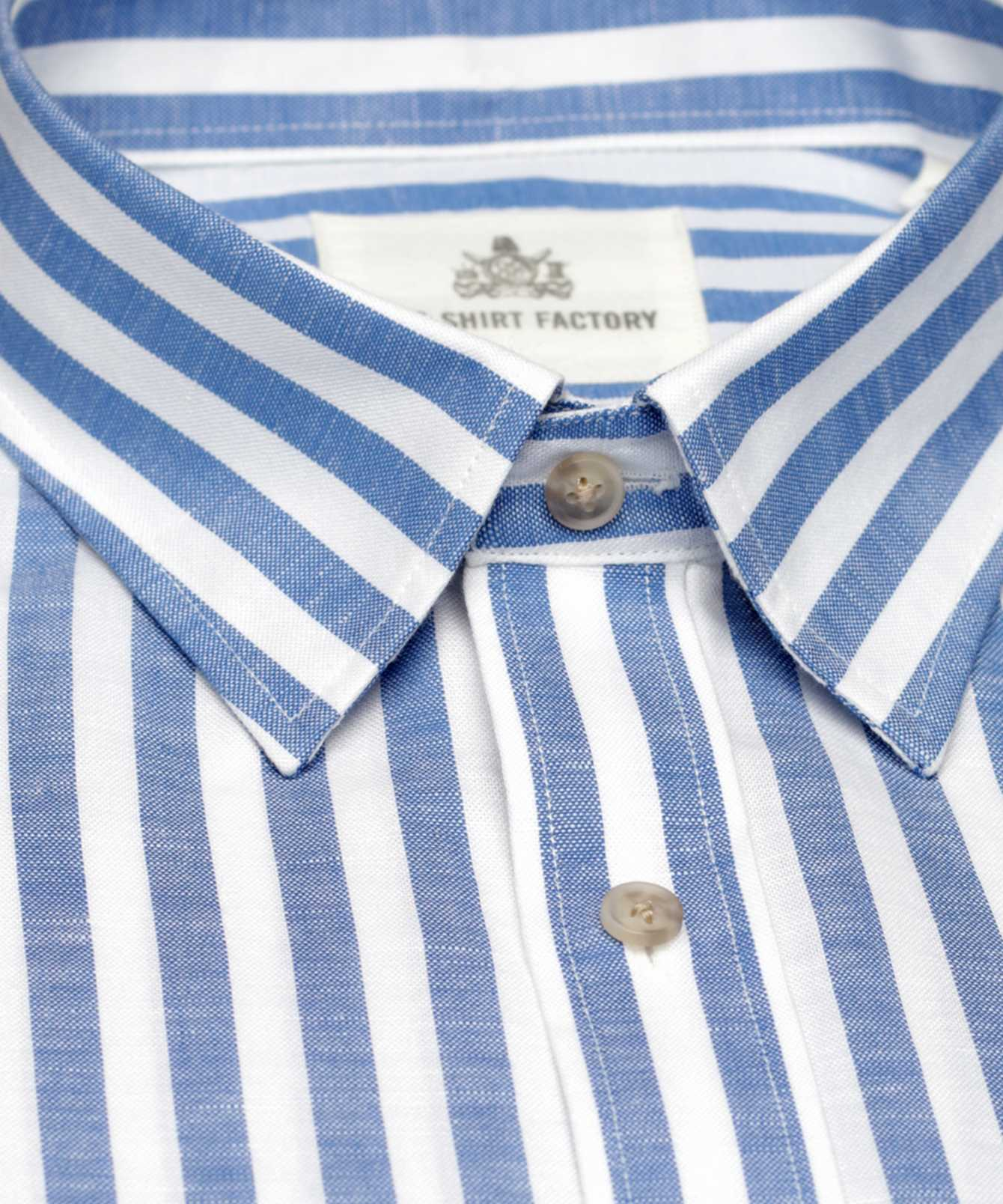 Skjorta Linen Stripe Blå The Shirt Factory