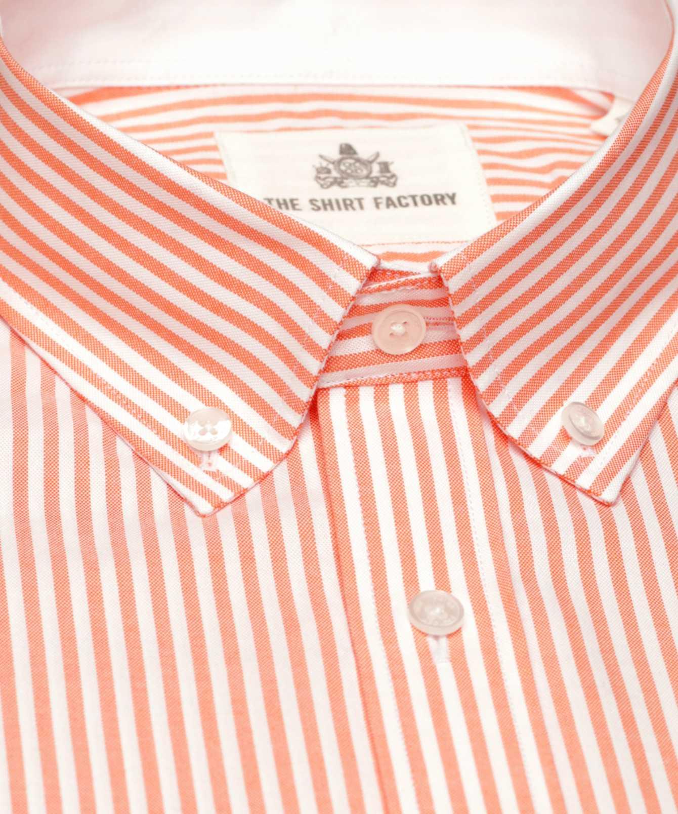Shirt Oxford Stripe Orange The Shirt Factory