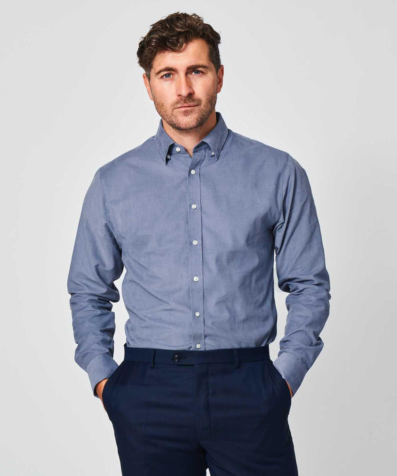Skjorta Toronto Cord Blå The Shirt Factory