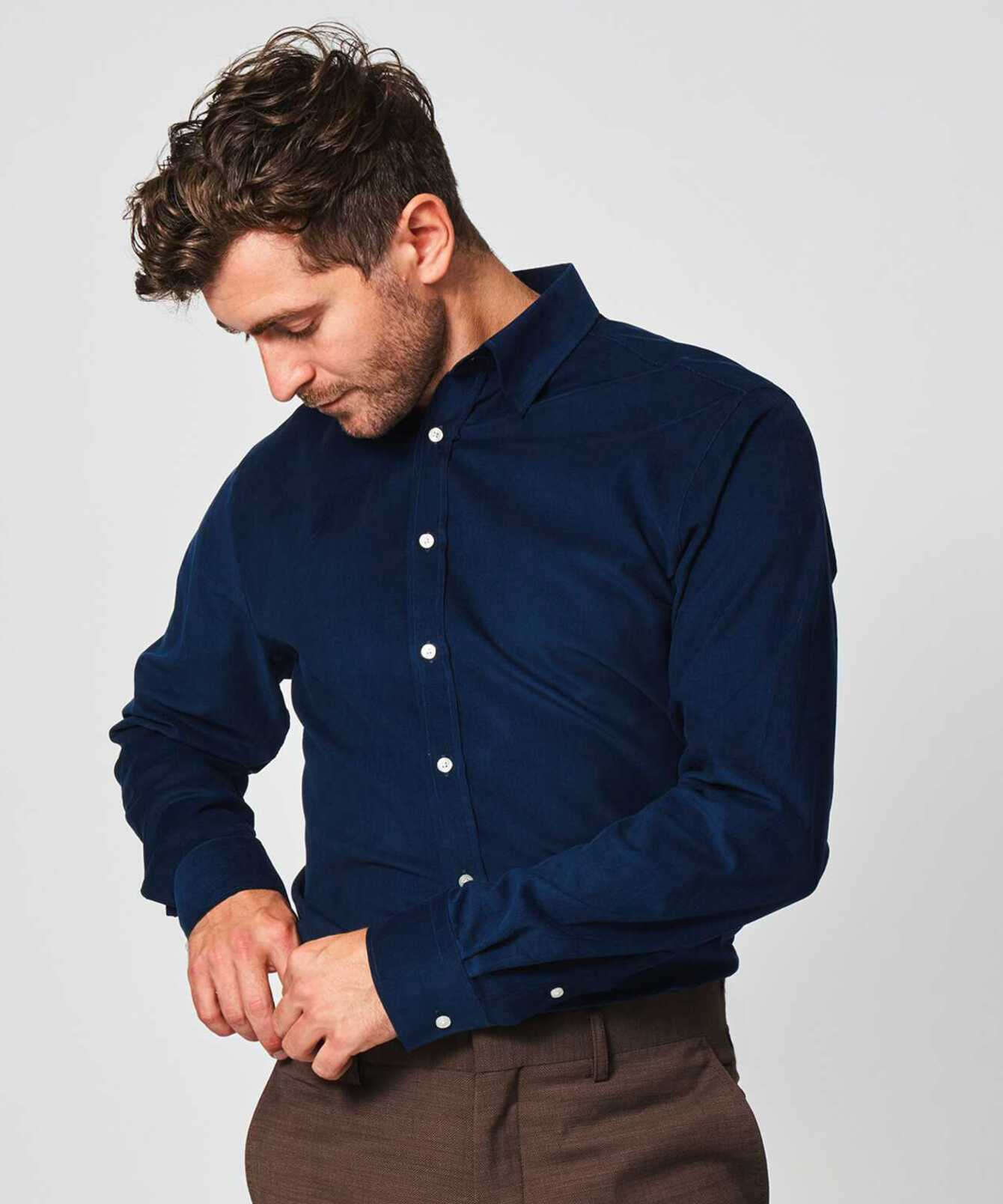 Shirt Toronto Cord Deep Blue The Shirt Factory
