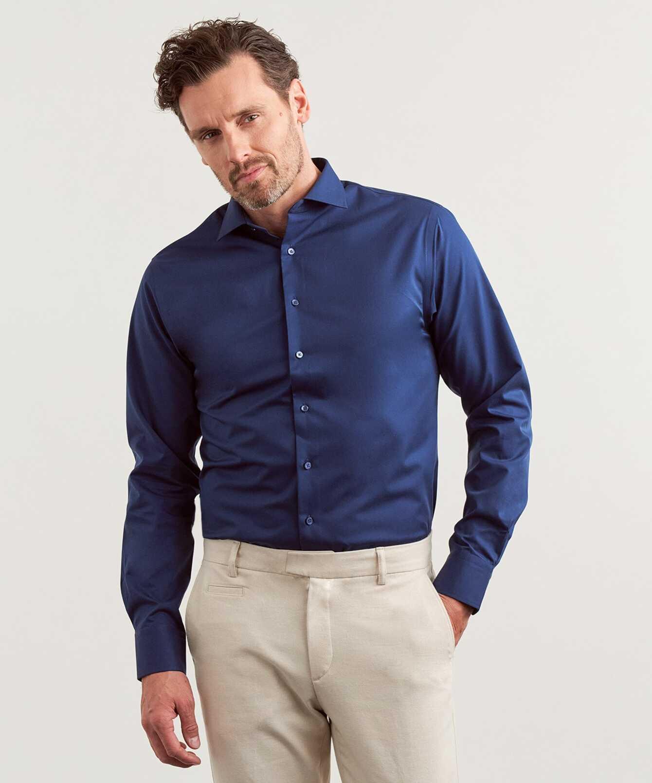 Shirt Grand Twill Strykfri Mörkblå Extra Lång Ärm The Shirt Factory