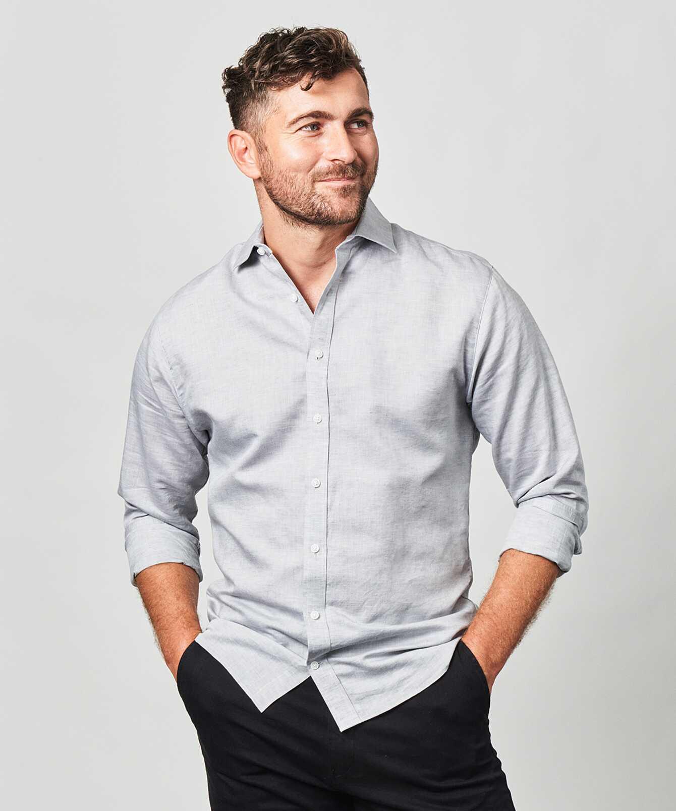 Shirt Portofino Linen Grey The Shirt Factory