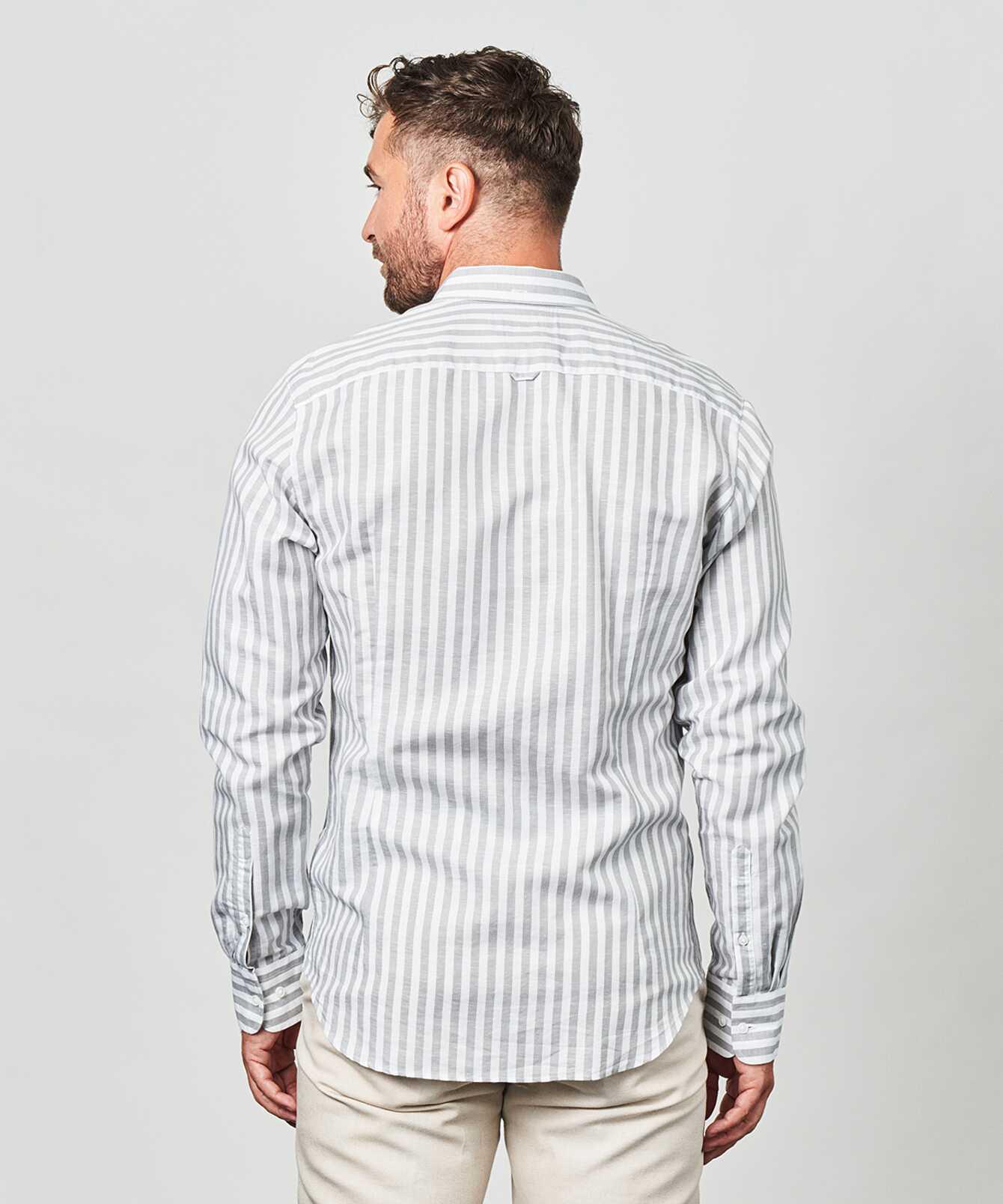 Skjorta Linen Stripe Grå The Shirt Factory