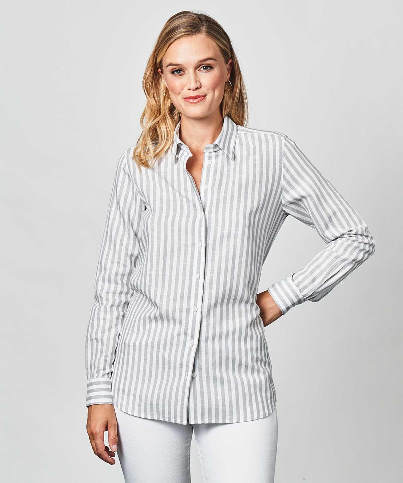 Shirt Mickan Linen Stripe Grey The Shirt Factory