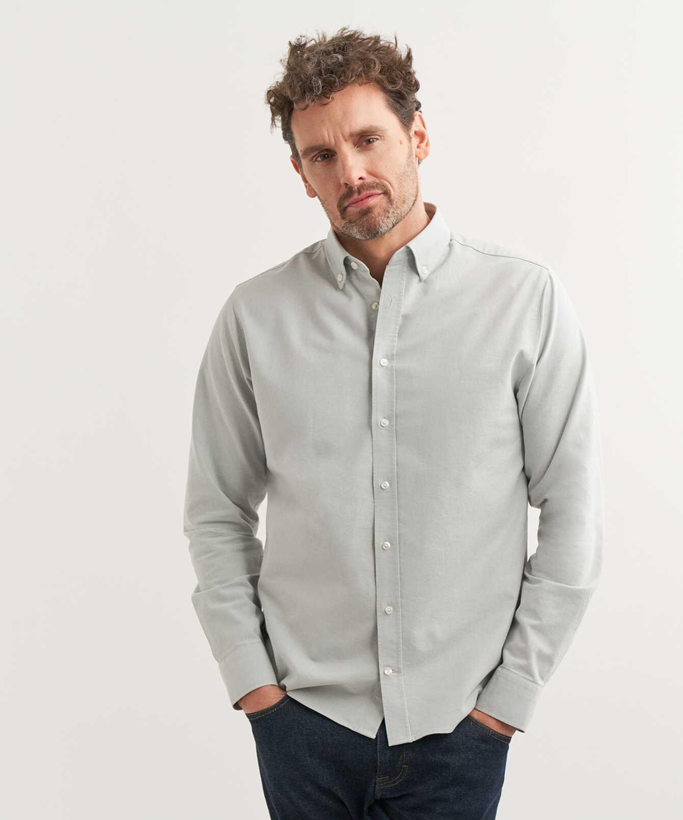 Skjorta Boston Oxford Ljusgrå The Shirt Factory