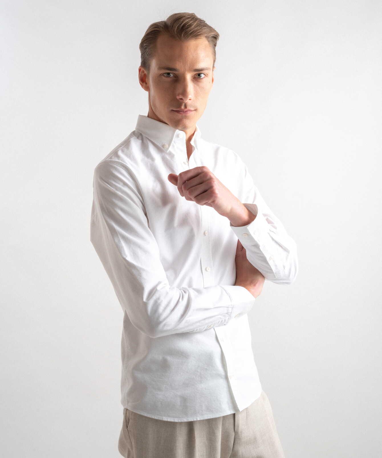 Skjorta Boston Oxford Vit Extra Lång Ärm The Shirt Factory