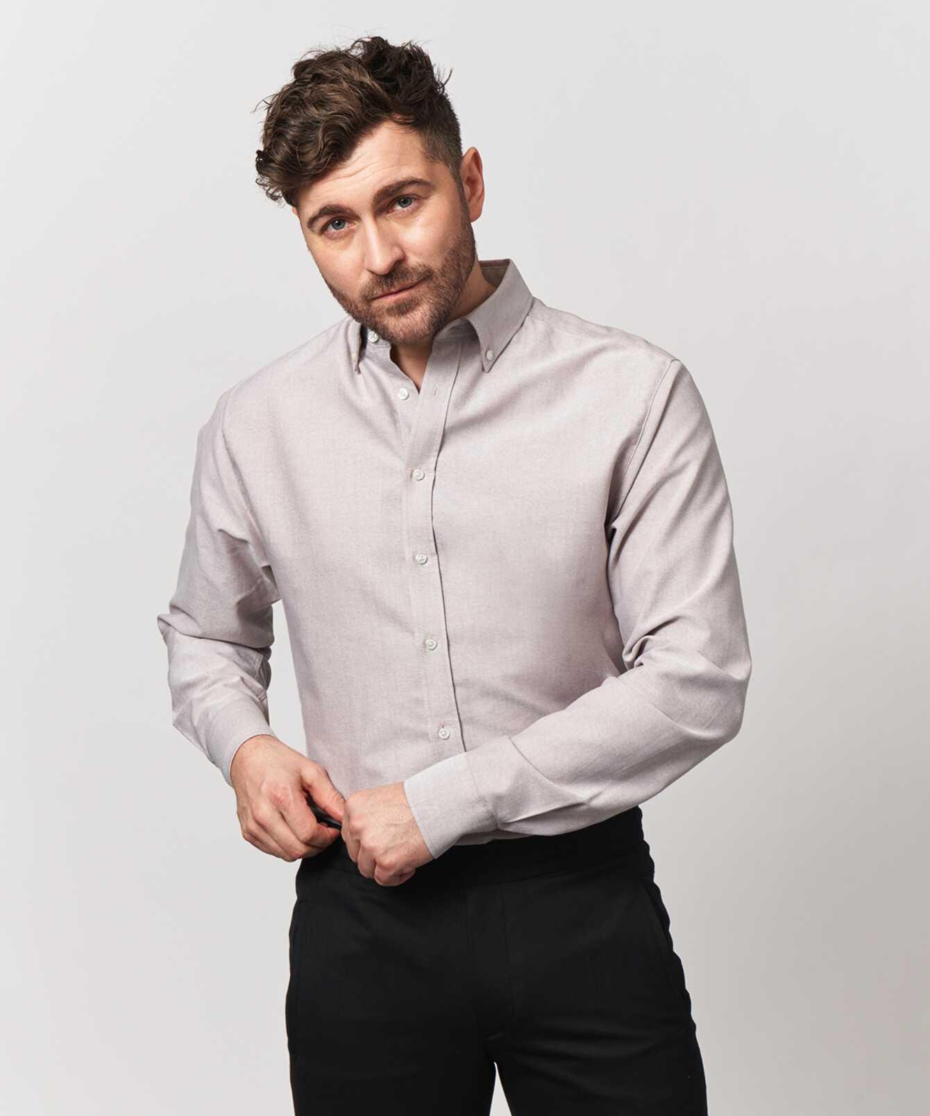 Skjorta Boston Oxford Sand Extra Lång Ärm The Shirt Factory