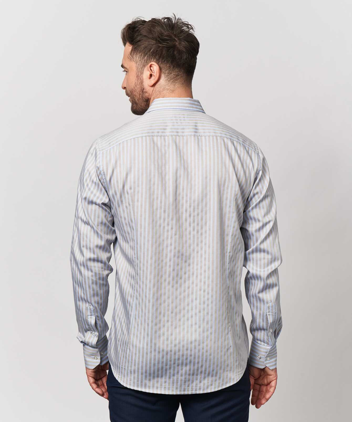 Shirt Bandon Stripe Beige The Shirt Factory