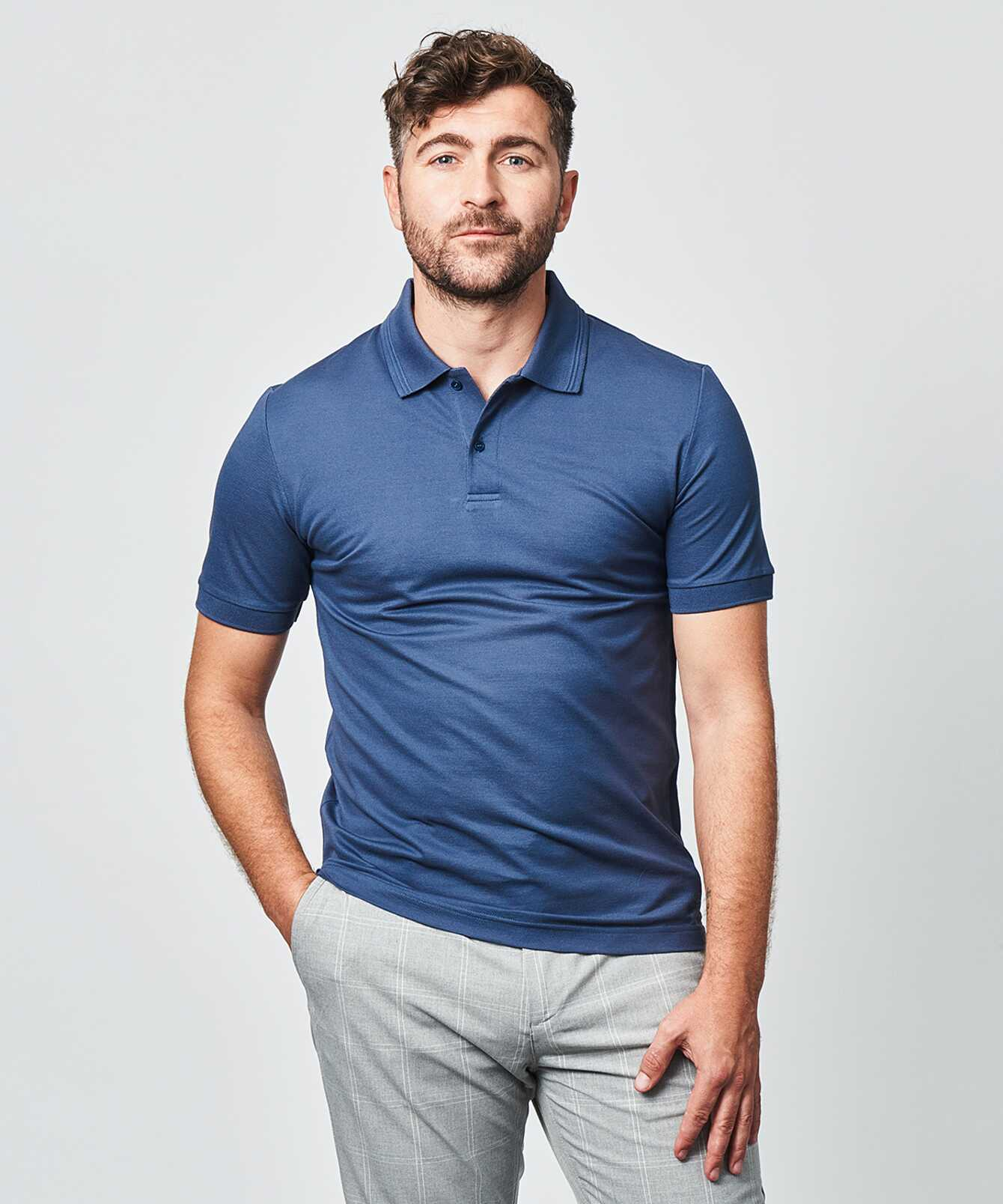Skjorta Merceriserad Piketröja Blå The Shirt Factory