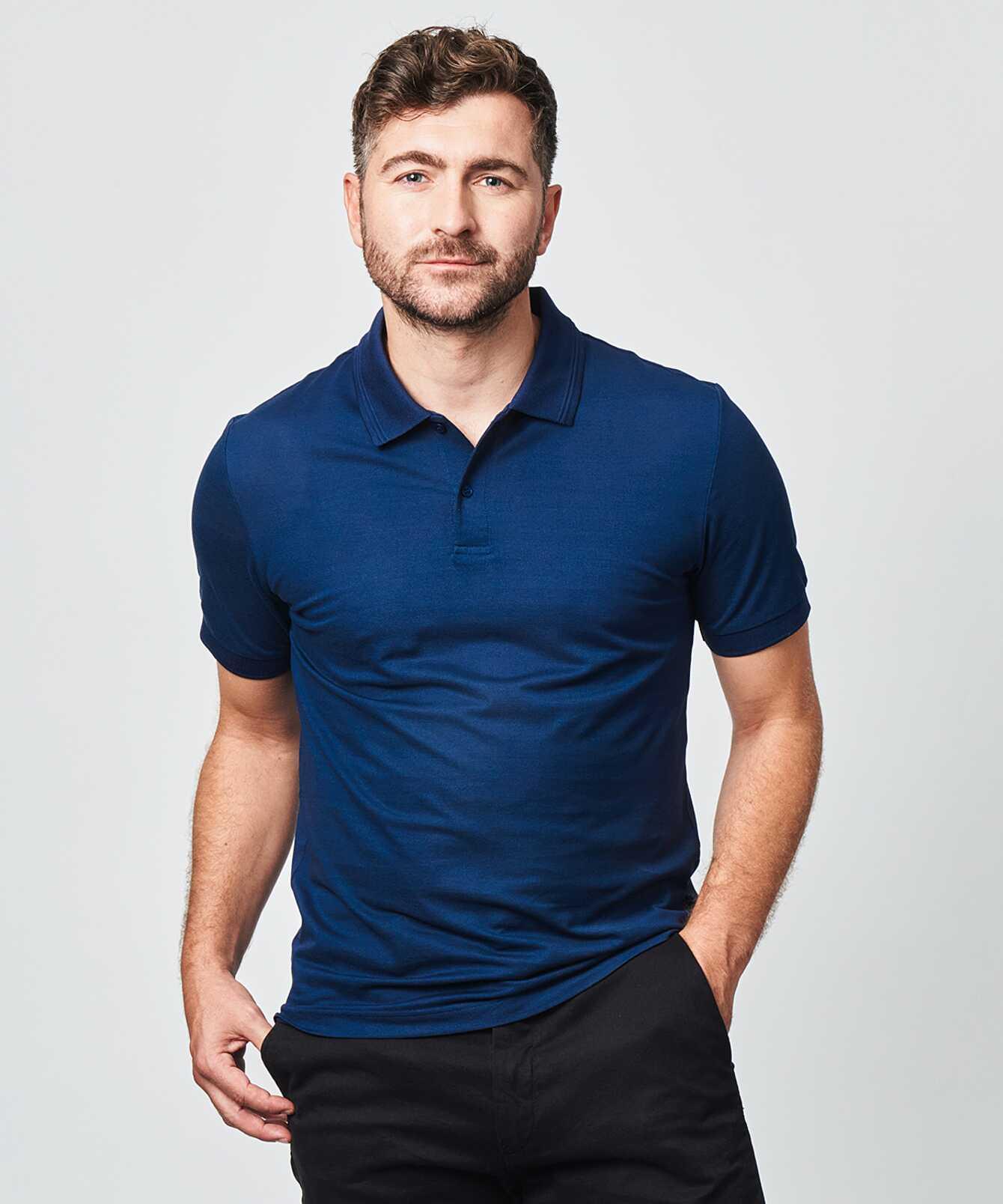 Shirt Mercerized polo shirt navy The Shirt Factory