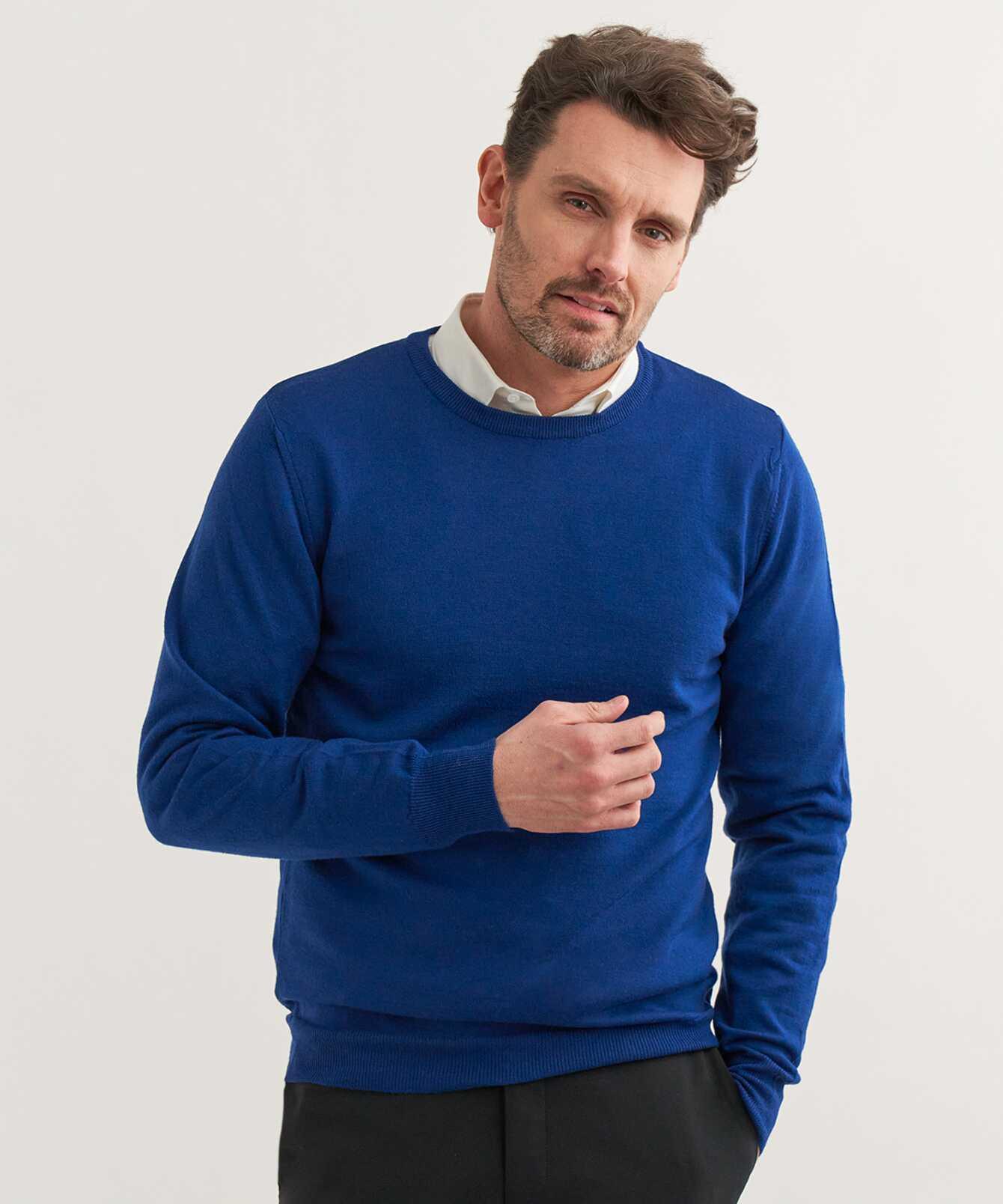 Skjorta Merinotröja Blå Rundringad The Shirt Factory