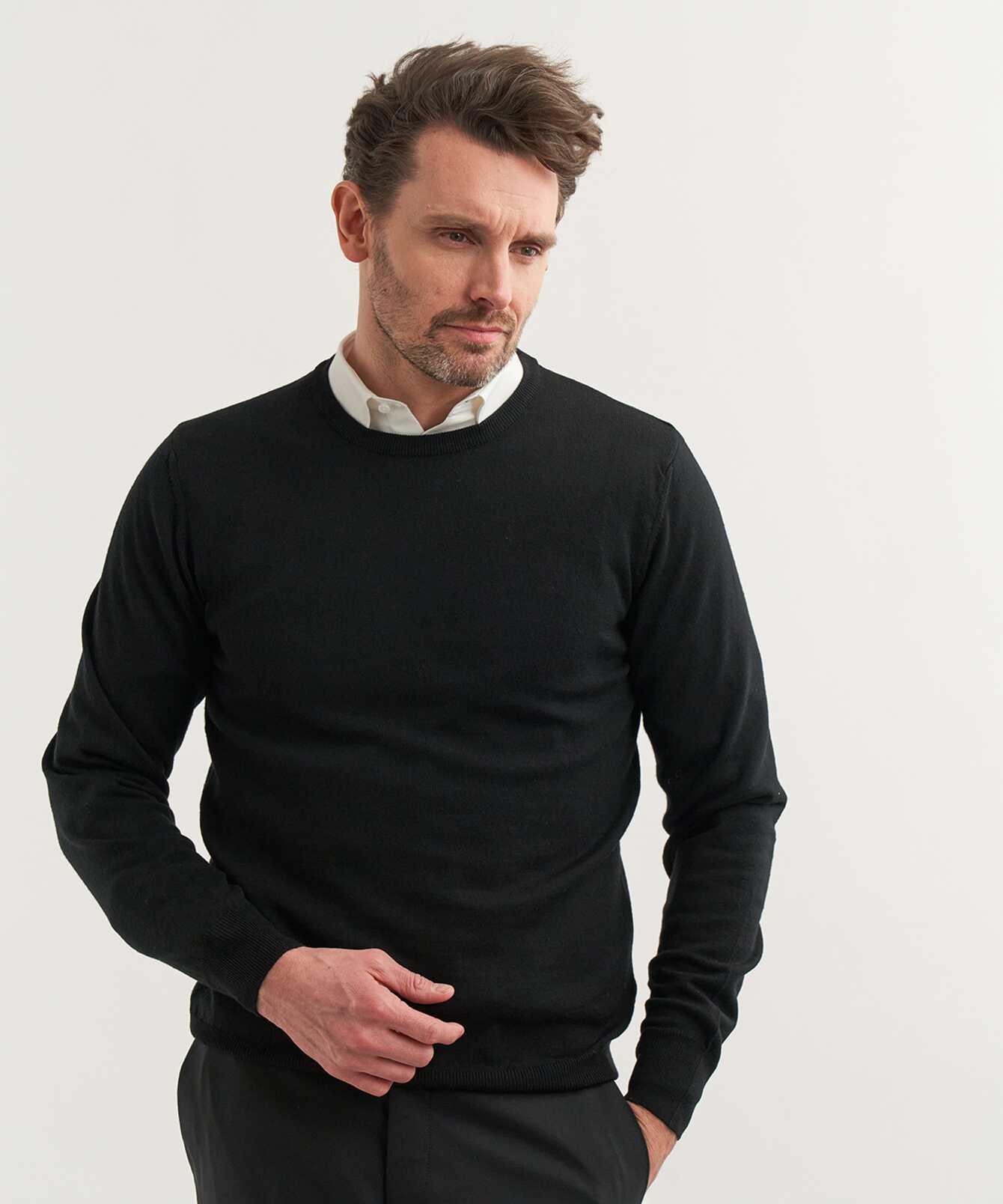 Shirt Crew neck Merino Black The Shirt Factory