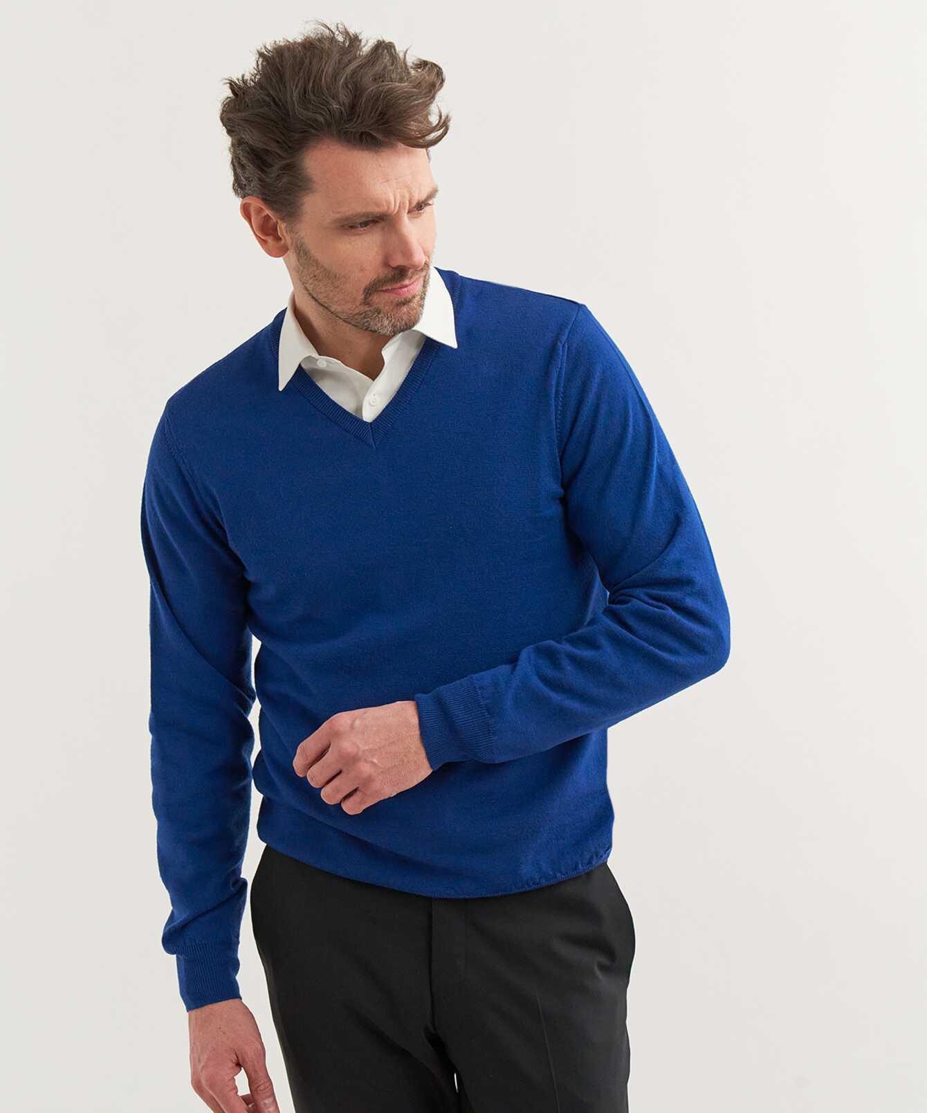 Shirt V-neck Merino Blue The Shirt Factory