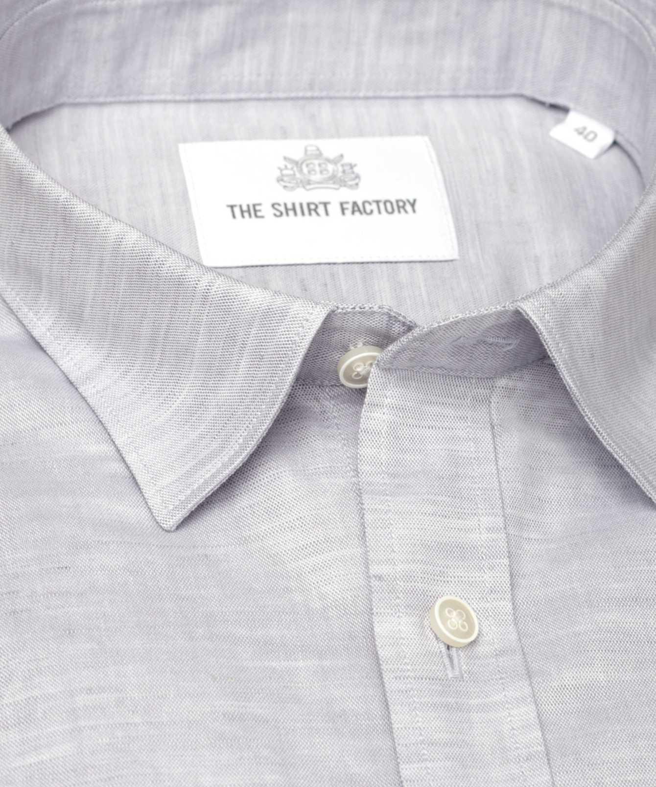 Skjorta Delsbo Linne Grå kort ärm The Shirt Factory