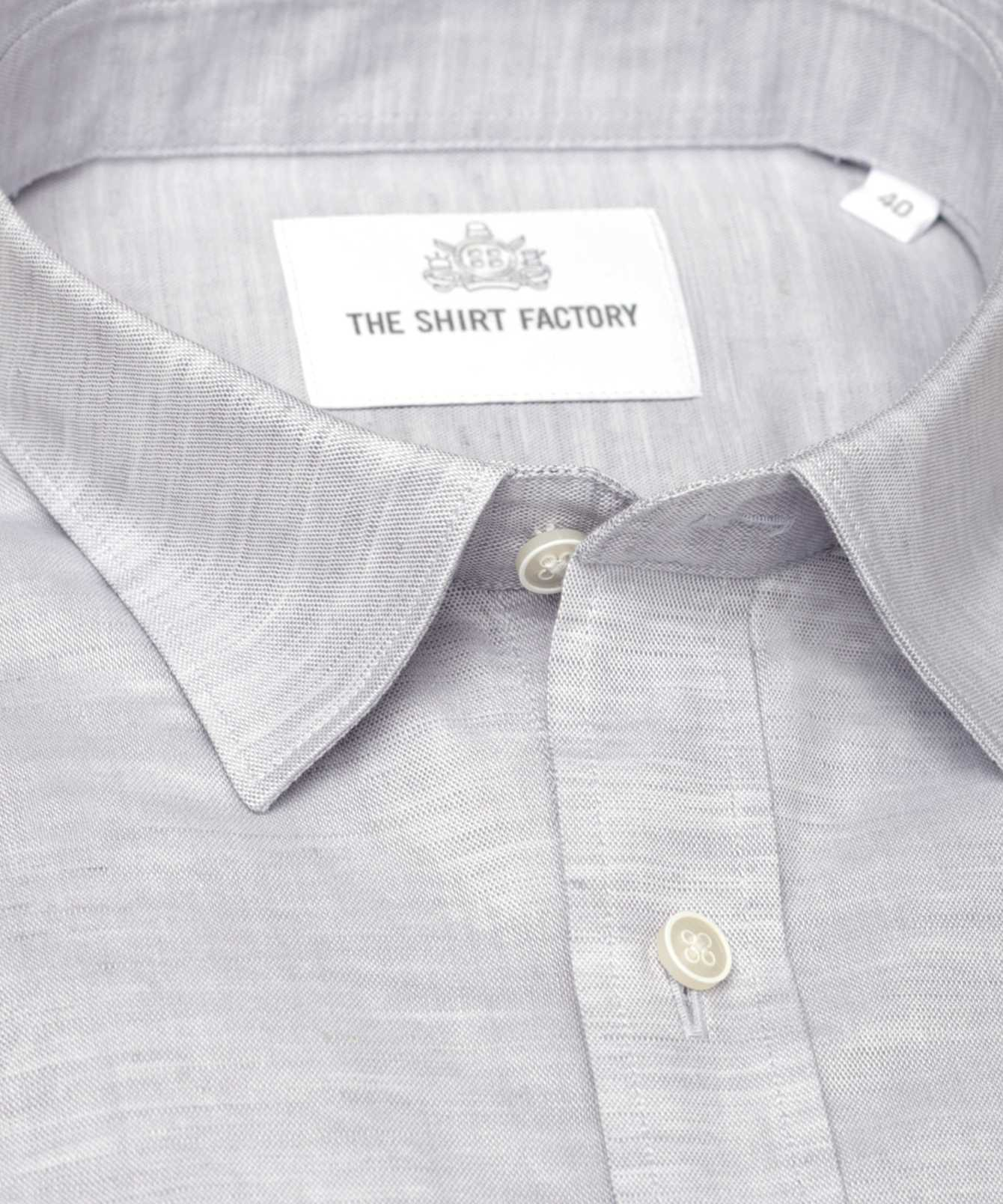 Shirt Delsbo Linne Grå kort ärm The Shirt Factory