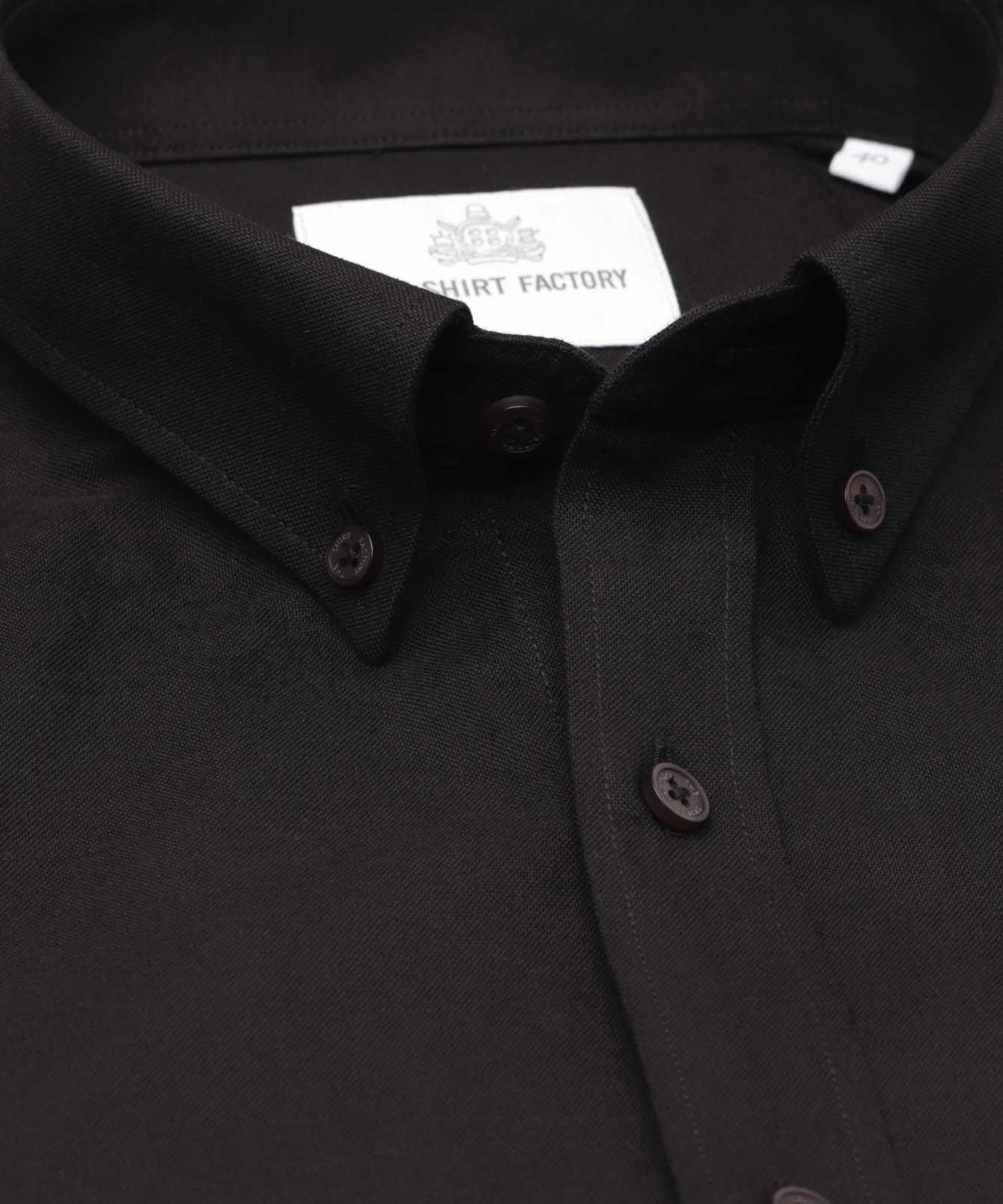Shirt Hampton Oxford svart The Shirt Factory
