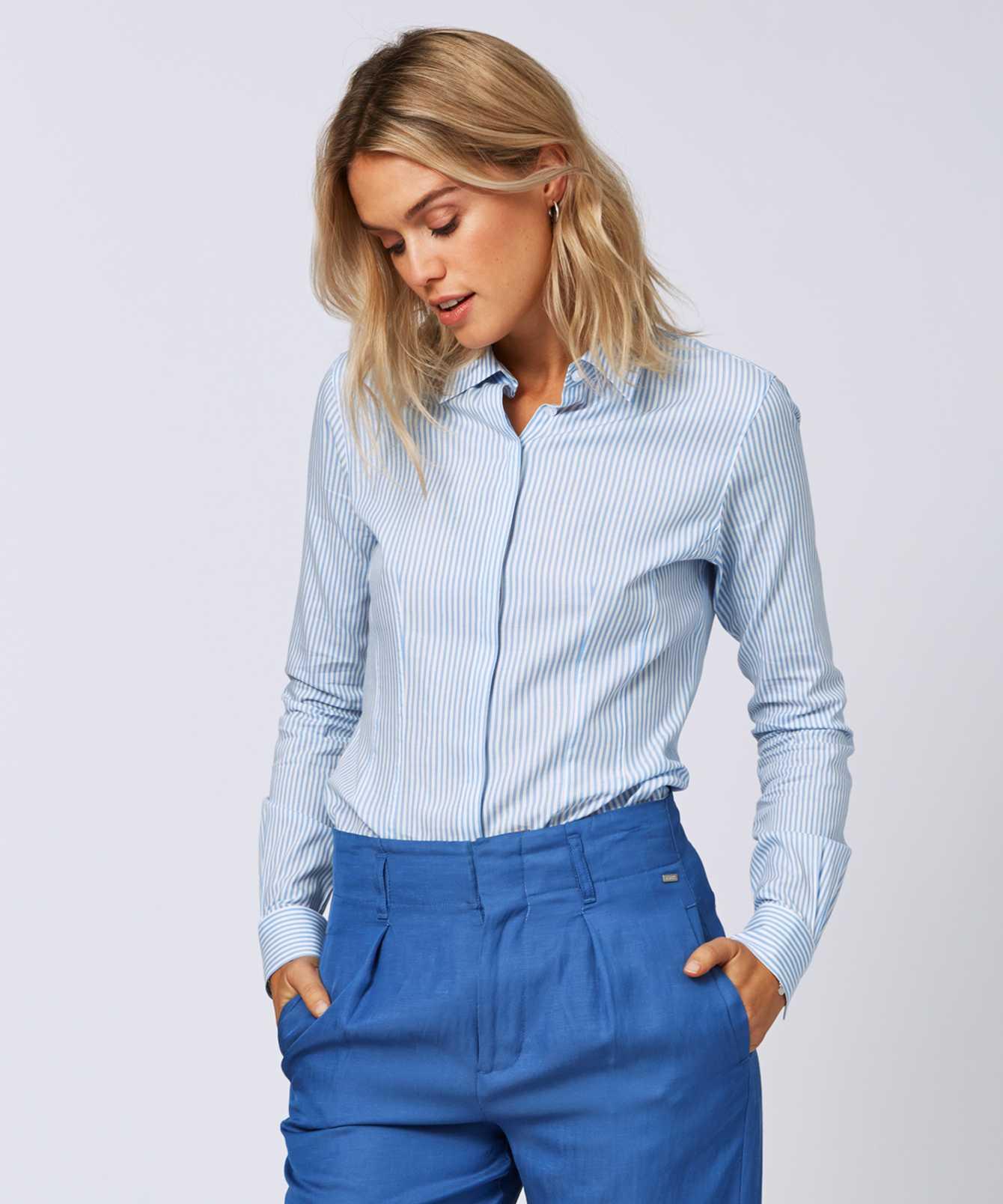 Shirt Emma Stripe Blå The Shirt Factory