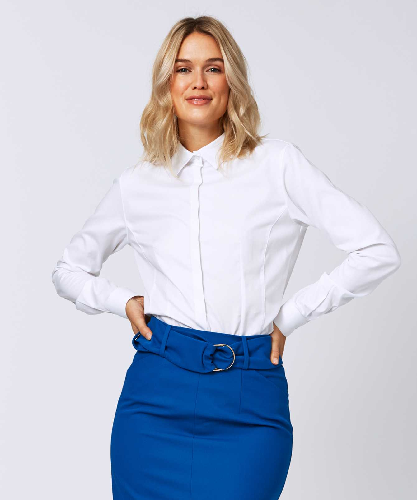 Shirt Emma Royal Stretch Vit The Shirt Factory