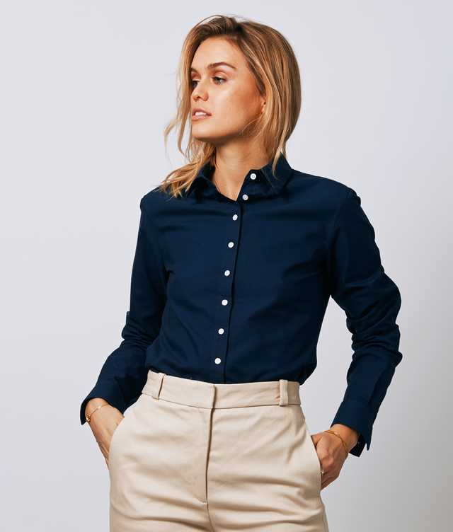 Skjorta Tilde Hampton Oxford Navy The Shirt Factory