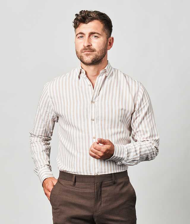 Shirt Linen Stripe Beige The Shirt Factory
