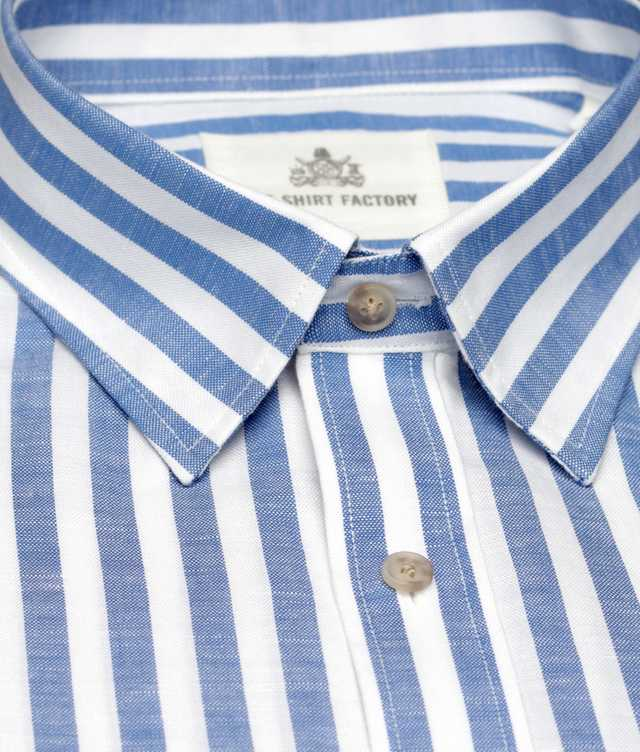 Shirt Linen Stripe Blå The Shirt Factory
