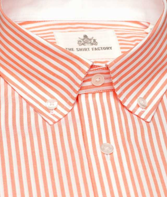 Shirt Oxford Stripe Orange The Shirt Factory