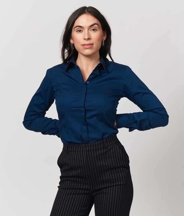 Skjorta Emma Grand Twill Navy The Shirt Factory