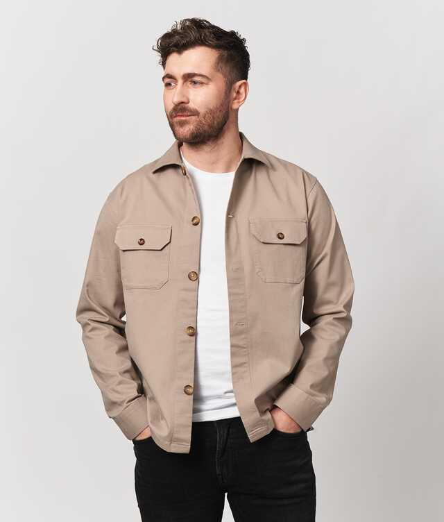 Skjorta Overshirt Twill Beige  The Shirt Factory