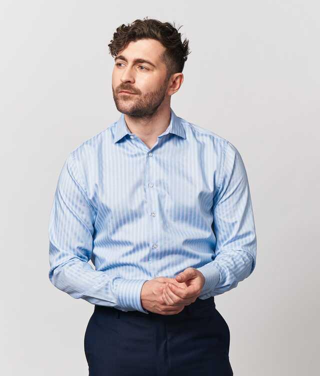 Skjorta Bandon Stripe Blå Extra Lång Ärm The Shirt Factory