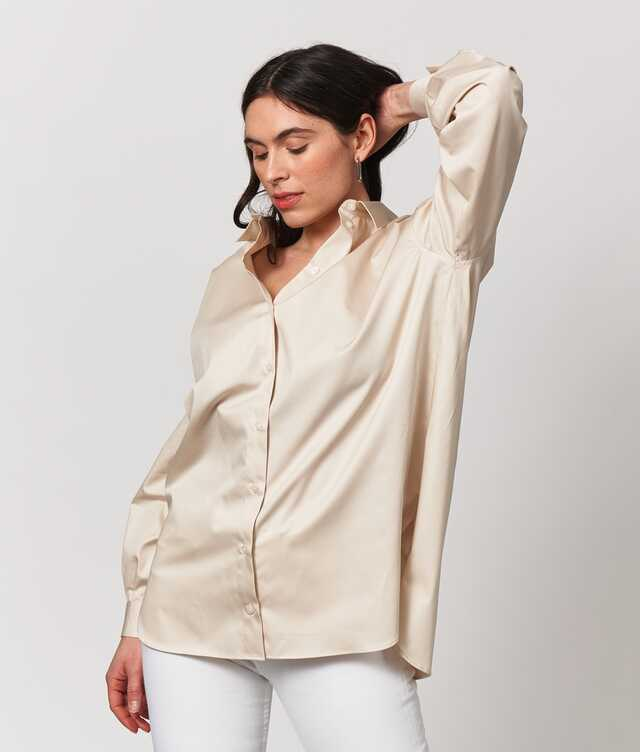 Shirt Elsa Cotton Poplin Ljusbeige The Shirt Factory