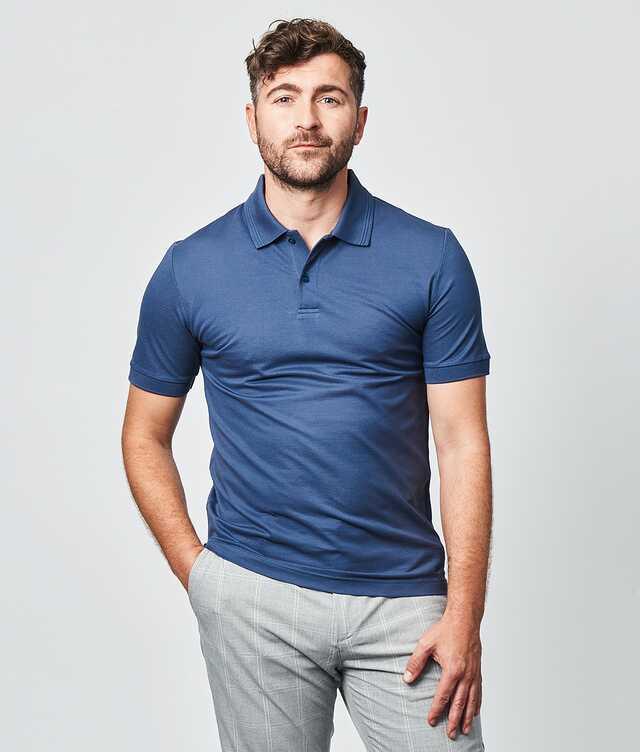 IK - Mercerized polo shirt blue